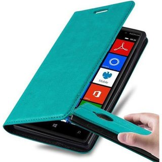 Cadorabo Book Case works with Nokia Lumia 830 in PETROL...