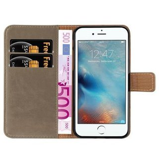 Cadorabo Book Case works with Apple iPhone 7 / iPhone 7S / iPhone 8 in CAPPUCCINO BROWN ? with Magnetic Closure, Stand Function and Card Slot ? Wallet Etui Cover Pouch PU Leather Flip