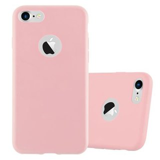 Cadorabo Case works with Apple iPhone 7 / iPhone 7S / iPhone 8 in CANDY PINK Shockproof and Scratch Resistant TPU Silicone Cover Ultra Slim Protective Gel Shell Bumper Back Skin