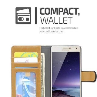 Book Case for Samsung Galaxy A5 2015 (5) in BLACK KHAKI by Cadorabo (Design BICOLOR) with Magnetic Closure, Stand Function and 3 Card Slots Wallet Case Etui Cover Protection Pouch PU Leather Soft Flip Card Holder