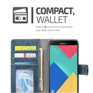 Book Case for Samsung Galaxy A5 2016 (6) in BLUE BLACK by Cadorabo (Design BICOLOR) with Magnetic Closure, Stand Function and 3 Card Slots Wallet Case Etui Cover Protection Pouch PU Leather Soft Flip Card Holder