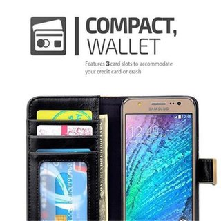 Book Case for Samsung Galaxy J5 2015 (5) in BLACK KHAKI by Cadorabo (Design BICOLOR) with Magnetic Closure, Stand Function and 3 Card Slots Wallet Case Etui Cover Protection Pouch PU Leather Soft Flip Card Holder