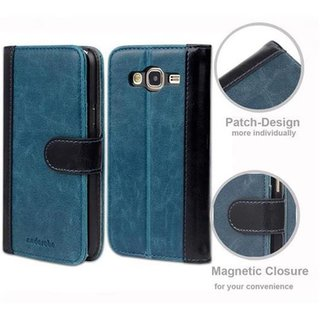Book Case for Samsung Galaxy J5 2015 (5) in BLUE BLACK by Cadorabo (Design BICOLOR) with Magnetic Closure, Stand Function and 3 Card Slots Wallet Case Etui Cover Protection Pouch PU Leather Soft Flip Card Holder