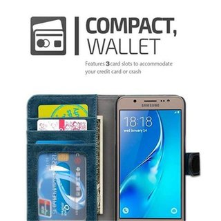 Book Case for Samsung Galaxy J5 2016 (6) in BLUE BLACK by Cadorabo (Design BICOLOR) with Magnetic Closure, Stand Function and 3 Card Slots Wallet Case Etui Cover Protection Pouch PU Leather Soft Flip Card Holder