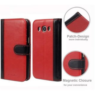 Book Case for Samsung Galaxy J5 2016 (6) in RED BLACK by Cadorabo (Design BICOLOR) with Magnetic Closure, Stand Function and 3 Card Slots Wallet Case Etui Cover Protection Pouch PU Leather Soft Flip Card Holder