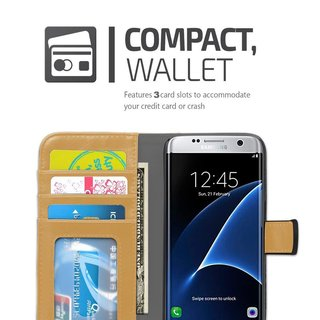 Book Case for Samsung Galaxy S7 in BLACK KHAKI by Cadorabo (Design BICOLOR) ? with Magnetic Closure, Stand Function and 3 Card Slots ? Wallet Case Etui Cover Protection Pouch PU Leather Soft Flip Card Holder