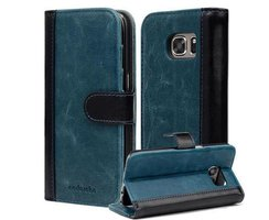 Book Case for Samsung Galaxy S7 in BLUE BLACK by Cadorabo...
