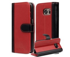 Book Case for Samsung Galaxy S7 in RED BLACK by Cadorabo...