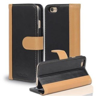 Book Case for Apple iPhone 6 / iPhone 6S in BLACK KHAKI by Cadorabo (Design BICOLOR) ? with Magnetic Closure, Stand Function and 3 Card Slots ? Wallet Case Etui Cover Protection Pouch PU Leather Soft Flip Card Holder