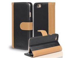 Book Case for Apple iPhone 6 / iPhone 6S in BLACK KHAKI...