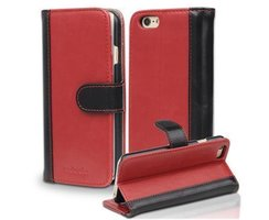 Book Case for Apple iPhone 6 / iPhone 6S in RED BLACK by...