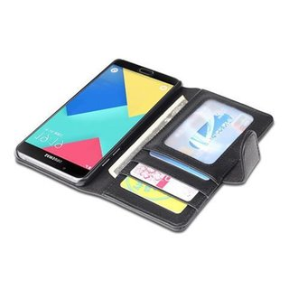 Cadorabo Book Case works with Samsung Galaxy A5 2016 in MIDNIGHT BLACK with Magnetic Closure and 3 Card Slots Wallet Etui Cover Pouch PU Leather Flip