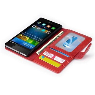 Cadorabo Book Case works with Huawei P8 LITE 2015 in INFERNO RED with Magnetic Closure and 3 Card Slots Wallet Etui Cover Pouch PU Leather Flip