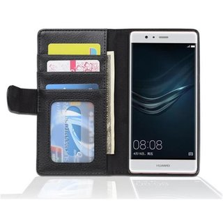 Cadorabo Book Case works with Huawei P9 in MIDNIGHT BLACK ? with Magnetic Closure and 3 Card Slots ? Wallet Etui Cover Pouch PU Leather Flip