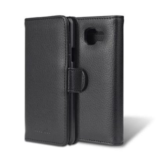 Cadorabo Book Case works with Samsung Galaxy A3 2016 in MIDNIGHT BLACK with Magnetic Closure and 3 Card Slots Wallet Etui Cover Pouch PU Leather Flip