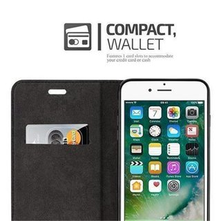 Cadorabo Book Case works with Apple iPhone 7 / iPhone 7S / iPhone 8 in NIGHT BLACK - with Magnetic Closure, Stand Function and Card Slot - Wallet Etui Cover Pouch PU Leather Flip
