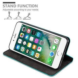 Cadorabo Book Case works with Apple iPhone 8 PLUS / 7 PLUS / 7S PLUS in PETROL TURQUOISE - with Magnetic Closure, Stand Function and Card Slot - Wallet Etui Cover Pouch PU Leather Flip