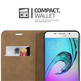 Cadorabo - Book Style Wallet with Stand Function for > Samsung Galaxy A5 (6) - Model 2016 < with Card Slot and invisible Magnetic Closure Bast fibre design - Etui Case Cover Protection in GREY-BLUE