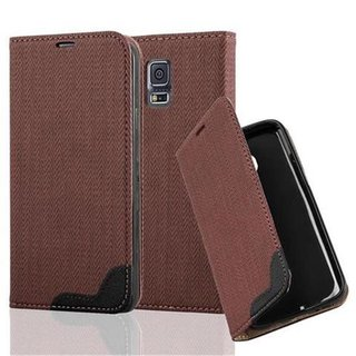Cadorabo Book Style Wallet with Stand Function for > Samsung Galaxy S5 / S5 NEO < with Card Slot and invisible Magnetic Closure Bast fibre design Etui Case Cover Protection in BROWN