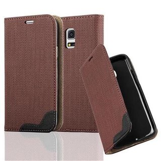 Cadorabo Book Style Wallet with Stand Function for > Samsung Galaxy S5 MINI / S5 MINI DUOS < with Card Slot and invisible Magnetic Closure Bast fibre design Etui Case Cover Protection in BROWN