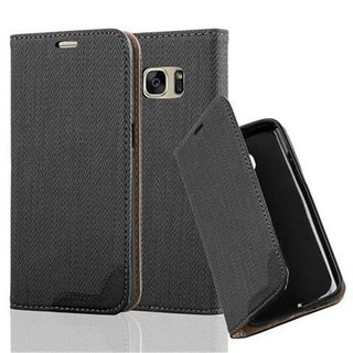 Cadorabo Book Style Wallet with Stand Function for > Samsung Galaxy S7 < (NOT for EDGE) with Card Slot and invisible Magnetic Closure Bast fibre design Etui Case Cover Protection in BLACK