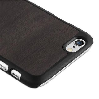 Cadorabo Case works with Apple iPhone 6 / iPhone 6S in WOODY BLACK ? Shockproof and Scratch Resistent Plastic Hard Cover ? Ultra Slim Protective Shell Bumper Back Skin