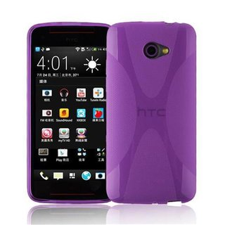 Cadorabo Case works with HTC BUTTERFLY S in PASTEL PURPLE - Shockproof and Scratch Resistant TPU Silicone Cover - Ultra Slim Protective Gel Shell Bumper Back Skin