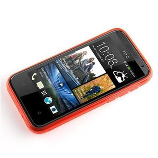 Cadorabo Case works with HTC Desire 300 in CANDY APPLE RED - Shockproof and Scratch Resistant TPU Silicone Cover - Ultra Slim Protective Gel Shell Bumper Back Skin