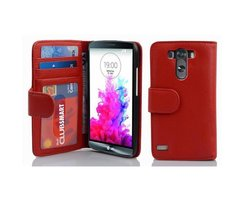 Cadorabo Book Case works with LG G3 in INFERNO RED - with...