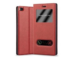 Cadorabo Book Case works with Huawei P8 in SAFFRON RED...