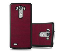 Cadorabo Case works with LG G3 in WOODY RED - Shockproof...