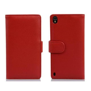 Cadorabo Book Case works with Huawei P7 in INFERNO RED -...