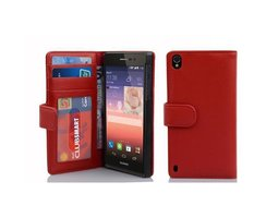 Cadorabo Book Case works with Huawei P7 in INFERNO RED...