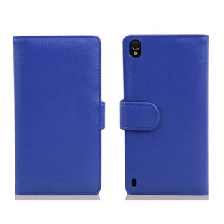 Cadorabo Book Case works with Huawei P7 in NEPTUNE BLUE -...