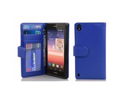Cadorabo Book Case works with Huawei P7 in NEPTUNE BLUE...