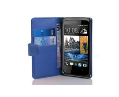 Cadorabo Book Case works with HTC DESIRE 500 in NAVY BLUE...