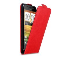 Cadorabo Case works with HTC ONE SV in CHILI RED - Flip...