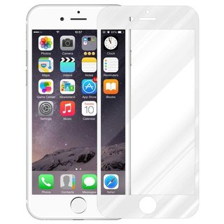 Cadorabo Tempered Glass works with Apple iPhone 8 / iPhone 7 / iPhone 7S in TRANSPARENT with WHITE Full Coverage Screen Protection Film 3D Touch Compatible with 9H Hardness Bulletproof Display Saver