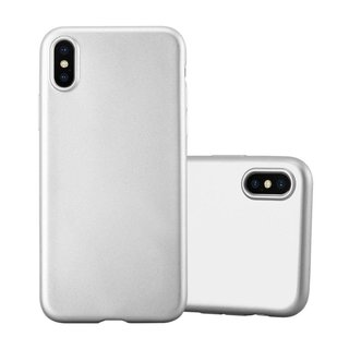 reputable site 86ddf dd9e5 Cadorabo Case works with Apple iPhone X / XS in METALLIC SILVER -  Shockproof and Scratch Resistant TPU Silicone Cover - Ultra Slim Protective  Gel ...