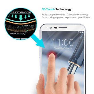 Cadorabo Tempered Glass works with LG STYLO 3 in TRANSPARENT with WHITE - Full Coverage Screen Protection Film 3D Touch Compatible with 9H Hardness - Bulletproof Display Saver