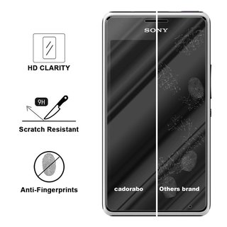 Cadorabo Tempered Glass works with Sony Xperia E1 in HIGH TRANSPARENCY - Screen Protection 3D Touch Compatible with 9H Hardness - Bulletproof Display Saver