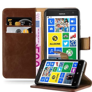 new arrival 526fc 02d65 Cadorabo Book Case works with Nokia Lumia 625 in TERRA BROWN ? with  Magnetic Closure, Stand Function and Card Slot ? Wallet Etui Cover Pouch PU  ...