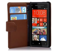 Cadorabo Book Case works with HTC 8X in SADDLE BROWN -...