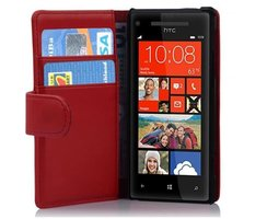 Cadorabo Book Case works with HTC 8X in CANDY APPLE RED -...