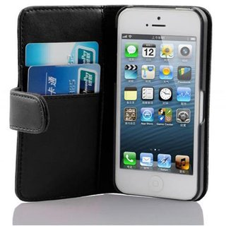 Cadorabo Book Case works with Apple iPhone 5 / iPhone 5S / iPhone SE in OXID BLACK - with Stand Function and Card Slot made of Smooth Faux Leather - Wallet Etui Cover Pouch PU Leather Flip