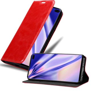 Cadorabo Book Case works with Samsung Galaxy S10 PLUS in APPLE RED - with Magnetic Closure, Stand Function and Card Slot - Wallet Etui Cover Pouch PU Leather Flip